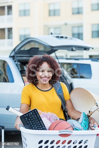 istock Young African-American woman moving house 914622752