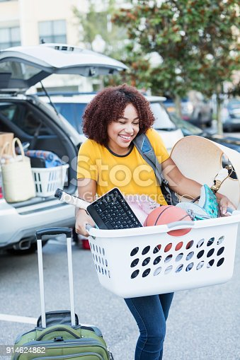istock Young African-American woman moving house 914624862
