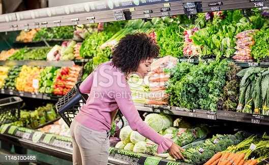 istock Young African-American woman shopping in grocery store 1145100468