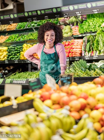istock Young African-American woman working in grocery store 1171427374