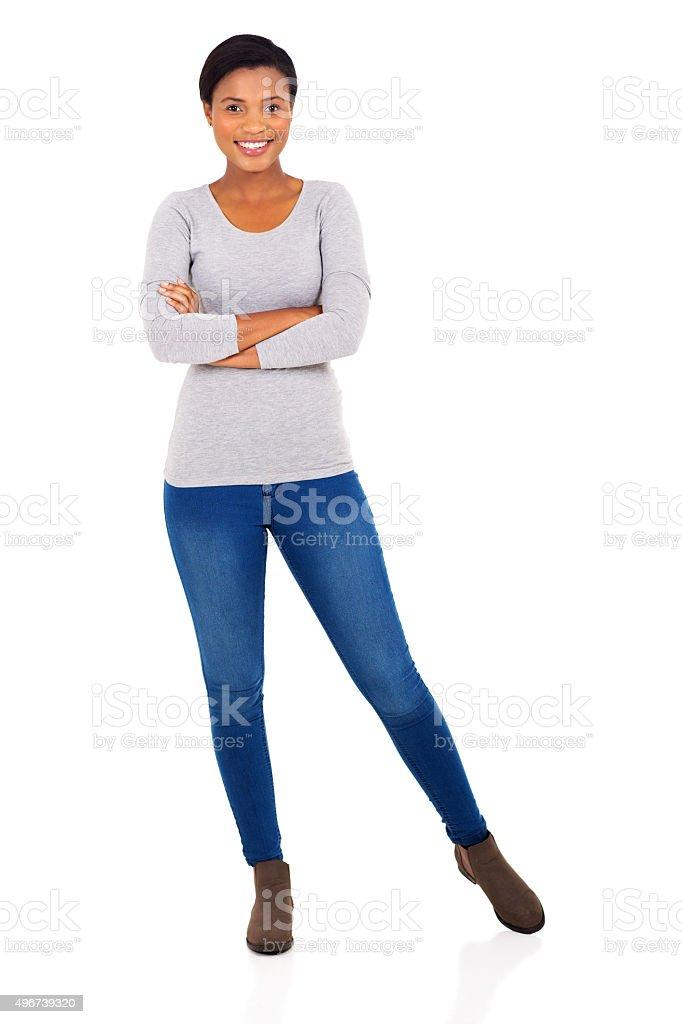Молодые афро американская женщина с руки, Сложенные стоковое фото