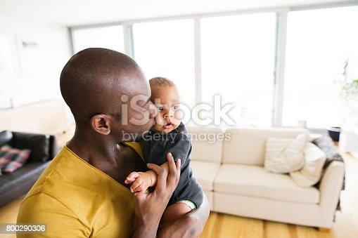 istock Young afro-american father holding his baby son in the arms 800290306