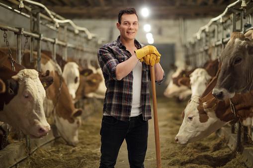 Photo libre de droit de Young Agricultural Worker Posing In A Cowshed banque d'images et plus d'images libres de droit de {top keyword}