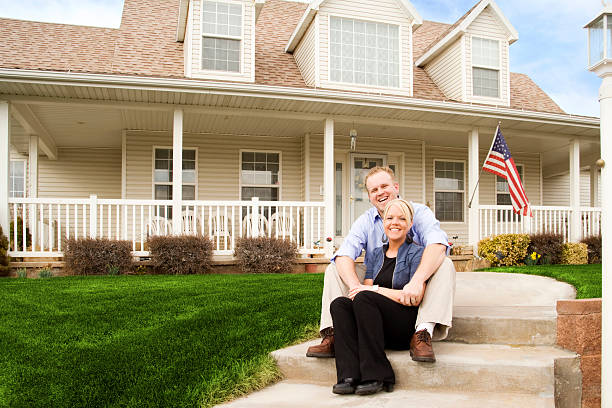 Young American Couple At Home stock photo