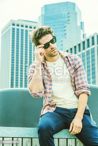 istock Young American man traveling, relaxing in New York 845595876