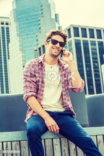 istock Young American man traveling, relaxing in New York 845595898