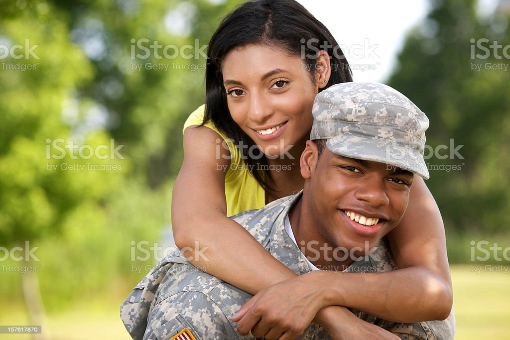 Young American military couple royalty-free stock photo