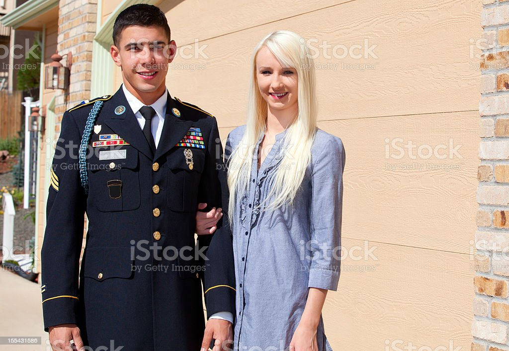 Young American Soldier in Dress Blue with Wife Outdoor royalty-free stock photo