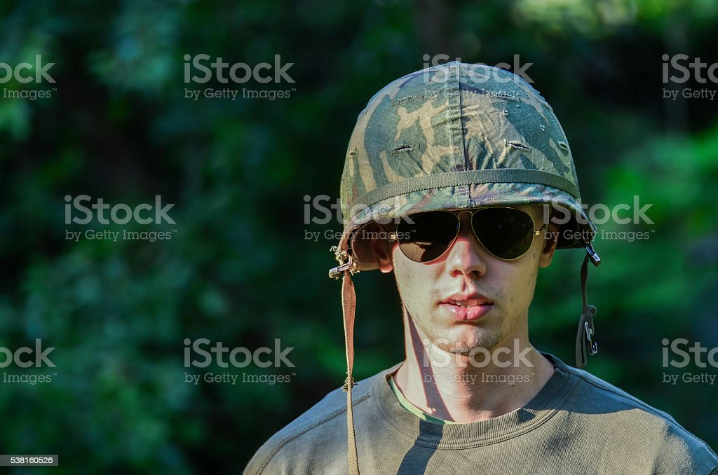 Young american soldier stock photo