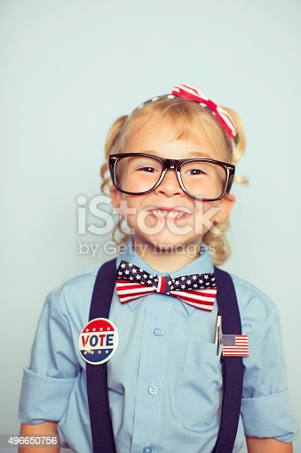 istock Young American Voting Girl on Election Day 496650756