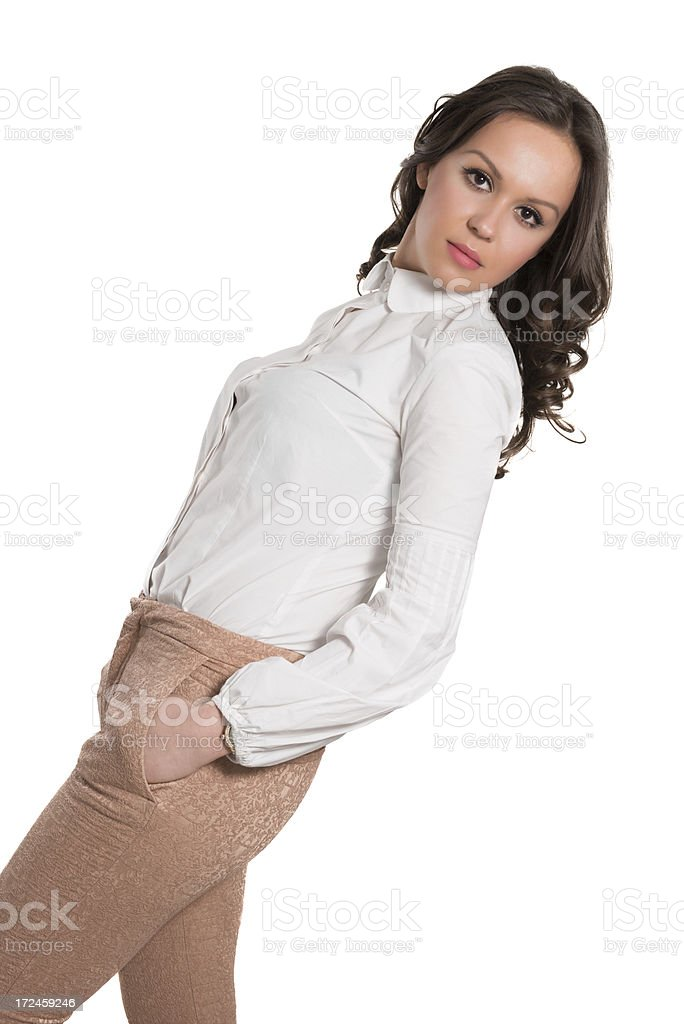 Young and Attractive Female Wearing Stylish Business Outfit stock photo
