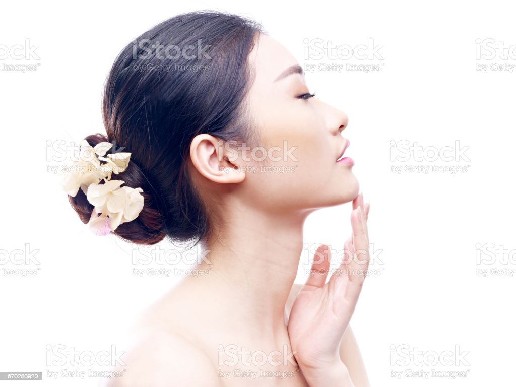 young and beautiful asian woman stock photo
