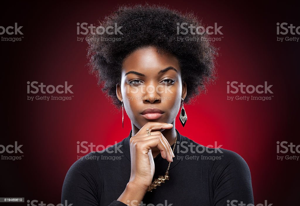 Young and beautiful black woman stock photo