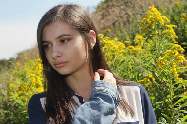 young and beautiful bulgarian outdoor girl on mitcham common - whiteway english outdoor girl stock photos and pictures