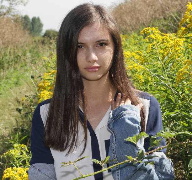 young and beautiful bulgarian outdoor girl on mitcham common - whiteway bulgarian outdoor girl stock photos and pictures