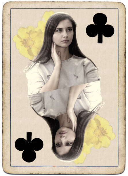 young and beautiful bulgarian outdoor girl queen of clubs playing card - whiteway bulgarian outdoor girl stock photos and pictures