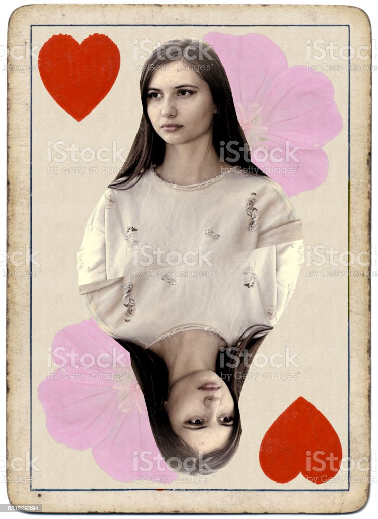 Young and beautiful Bulgarian outdoor girl queen of hearts playing card stock photo
