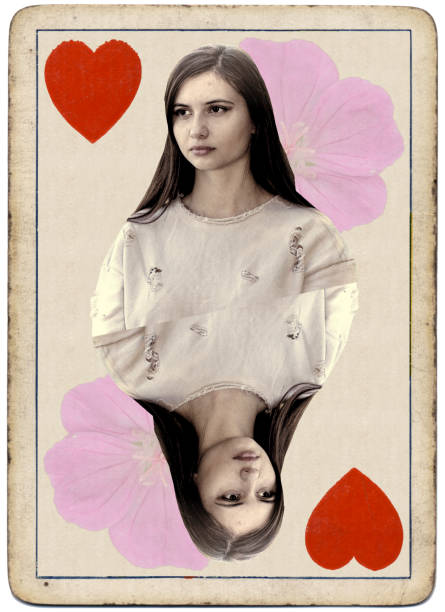 young and beautiful bulgarian outdoor girl queen of hearts playing card - whiteway bulgarian outdoor girl stock photos and pictures