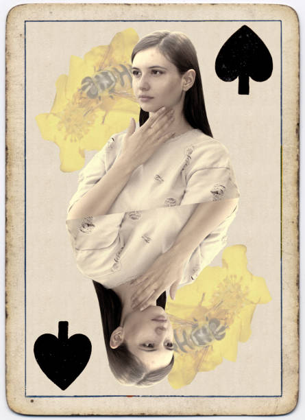 young and beautiful bulgarian outdoor girl queen of spades playing card - whiteway bulgarian outdoor girl stock photos and pictures