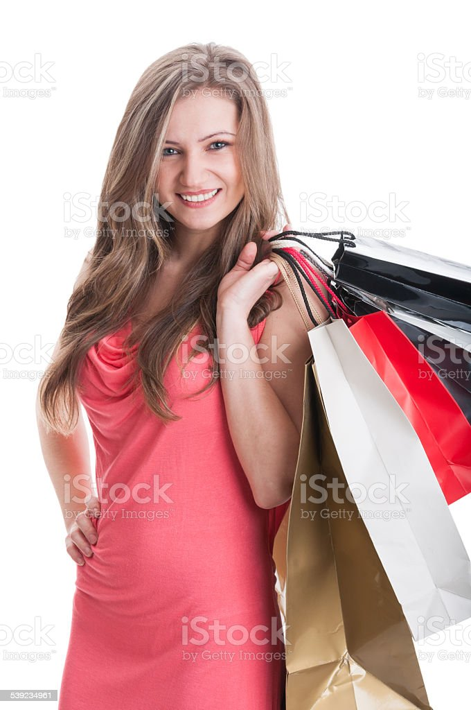 Young and beautiful shopping lady royalty-free stock photo
