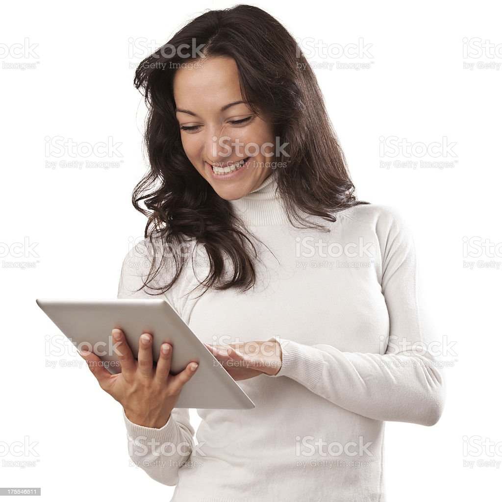 Young and beautiful smiled female with tablet royalty-free stock photo