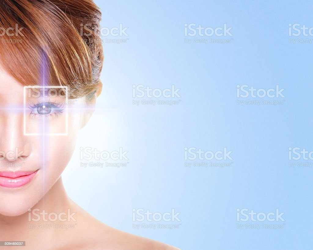 young and beautiful woman eye stock photo