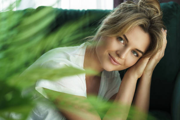 Young and beautiful woman with a smooth skin stock photo