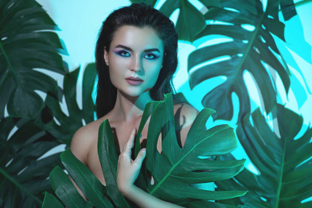 Beauty Woman Covering Naked Body Leaf Stock Photo (Edit