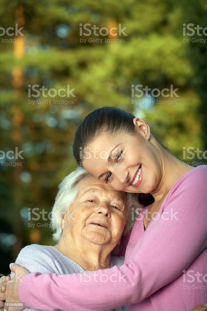 Young and elderly women royalty-free stock photo