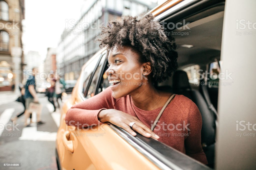 Young and happy adult in NYC stock photo