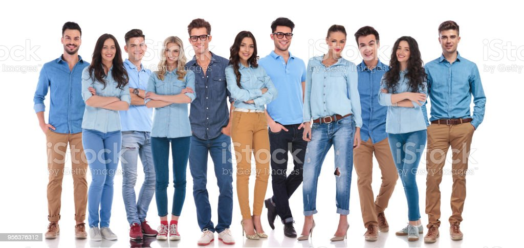 young and happy group of people dressed casual stock photo