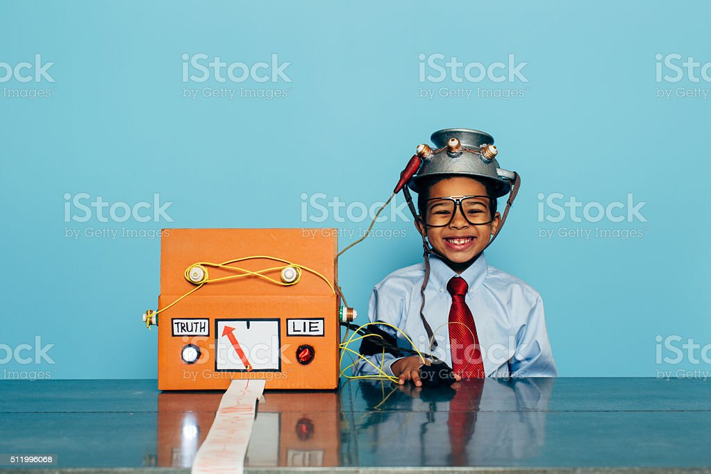 Young and Honest Businessman with Lie Detector stock photo