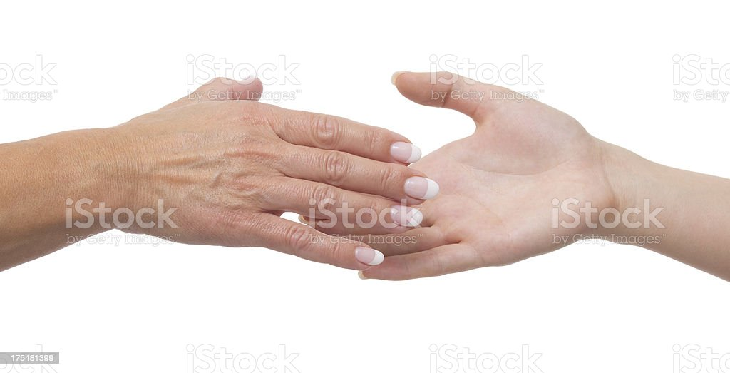 Young and mature hands on white stock photo