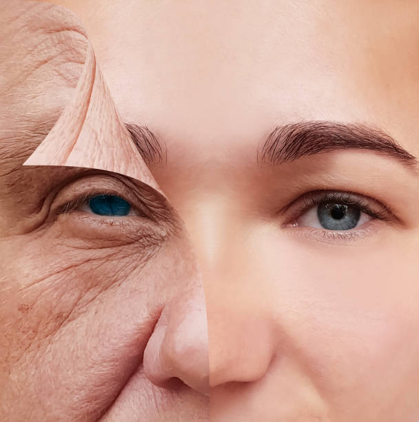 young and old face before and after concept young and old face before and after concept young at heart stock pictures, royalty-free photos & images