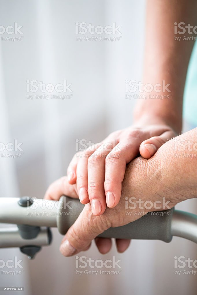 Young and old hand stock photo