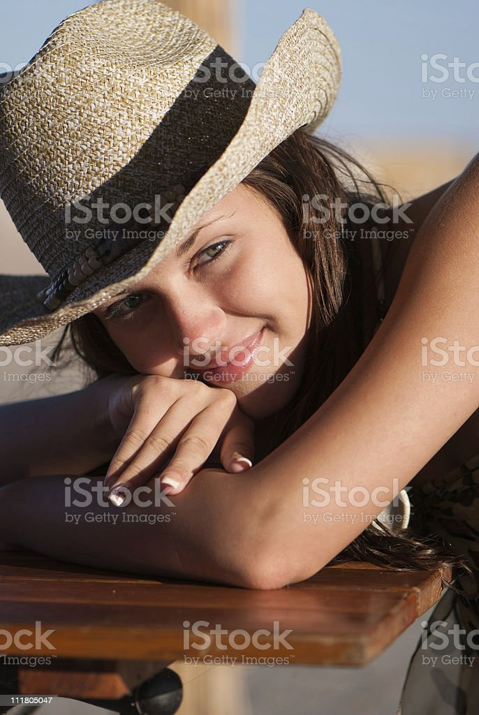 647518585da79 Young And Very Attractive Woman With Straw Hat Stock Photo   More ...