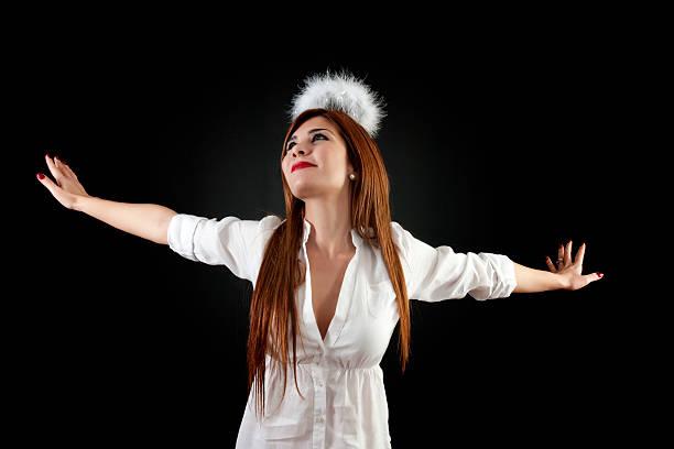 junge engel - damen hosen angels stock-fotos und bilder