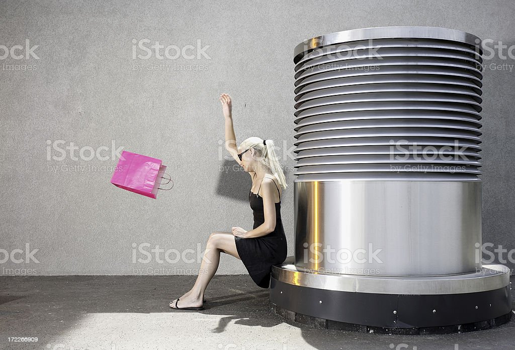 young angry shopaholic woman royalty-free stock photo