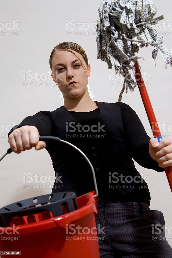 Young Angry Women To Keep House Or Not? stock photo