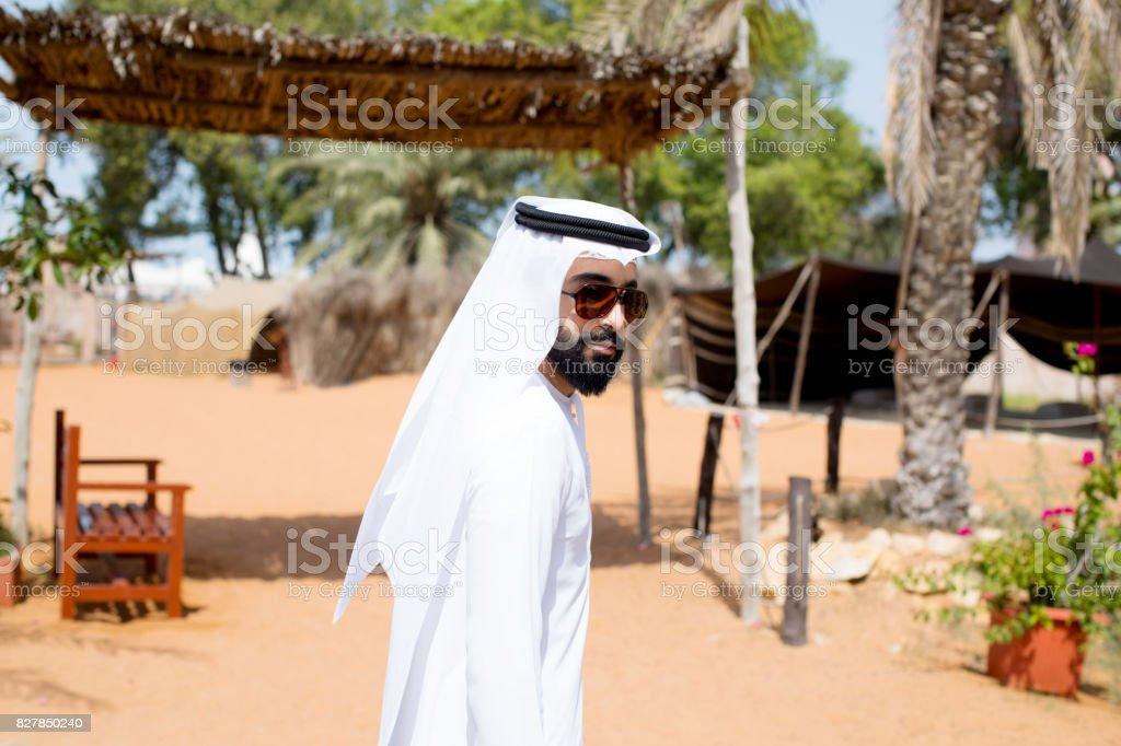 Young arab wearing kandura stock photo