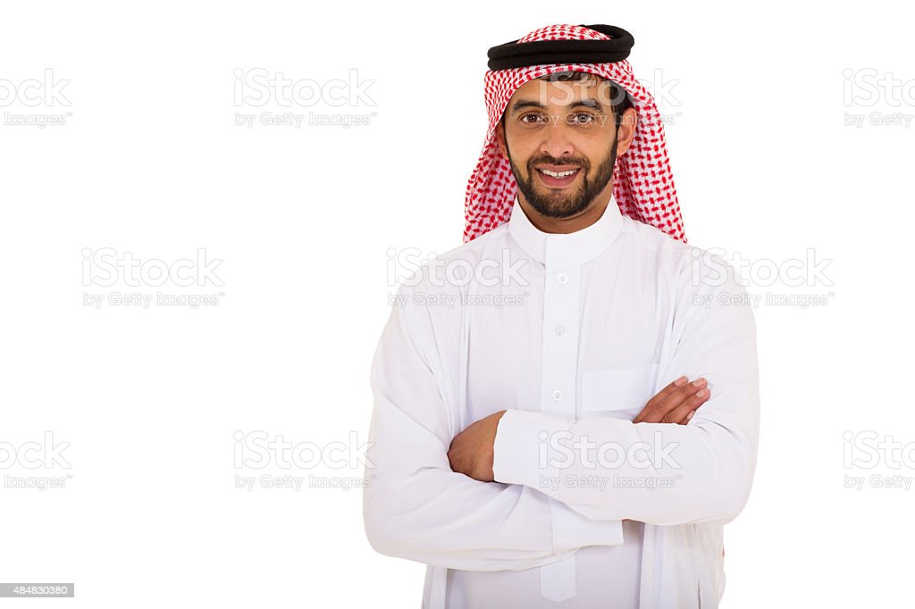 young arabian man with arms crossed stock photo