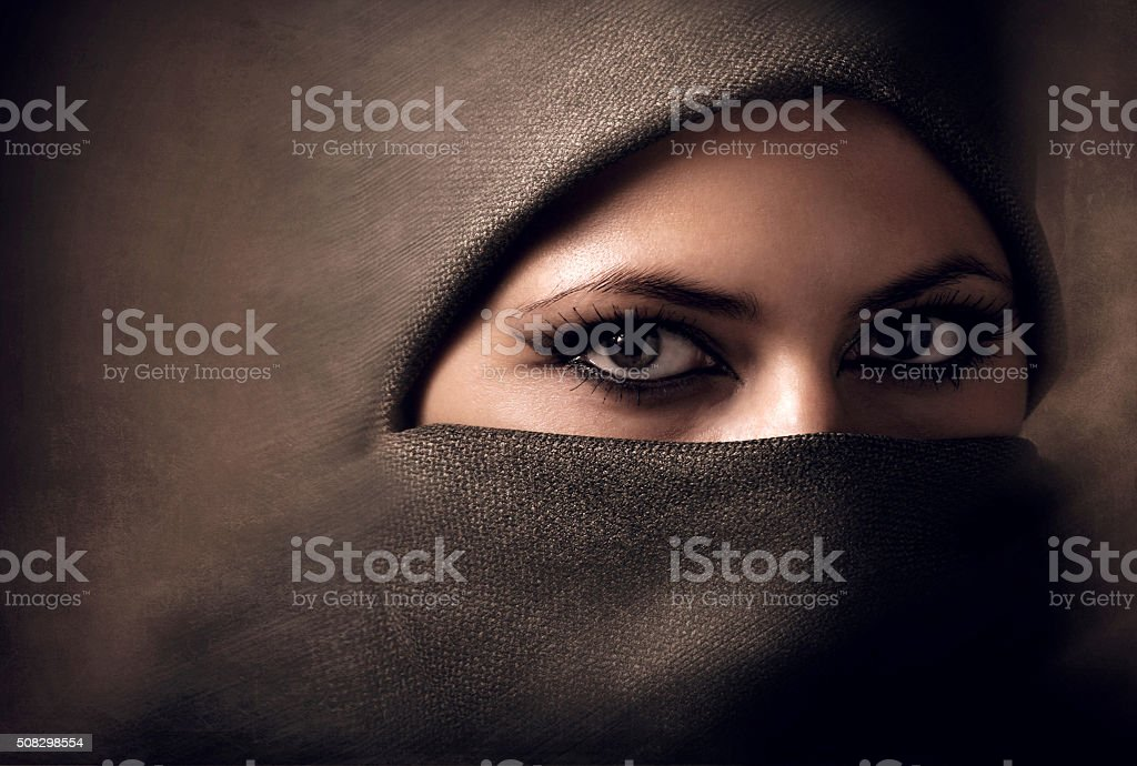 Young arabian woman in hijab. Toning stock photo