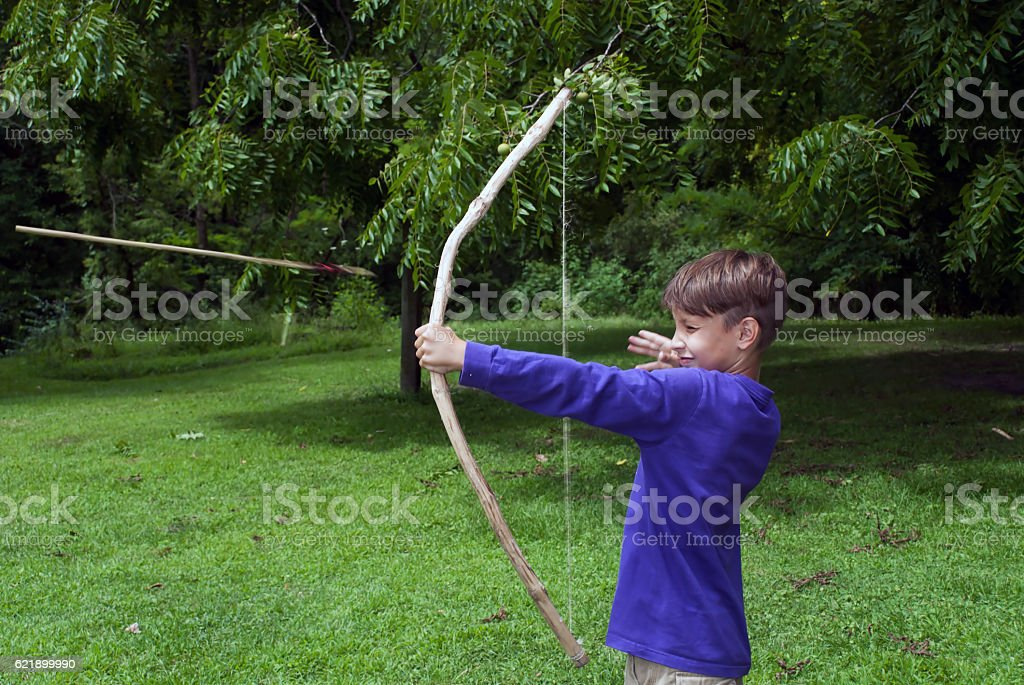 Young archer, Mississippi Palisades State Park, Illinois, USA stock photo