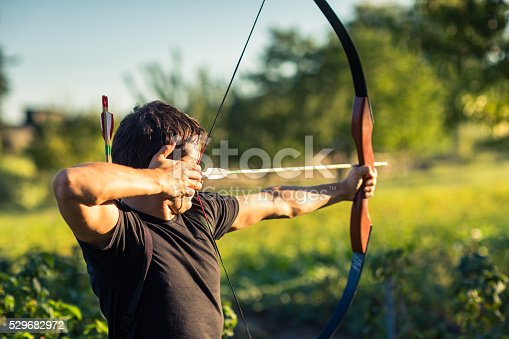 istock Young archer training with the bow 529682972