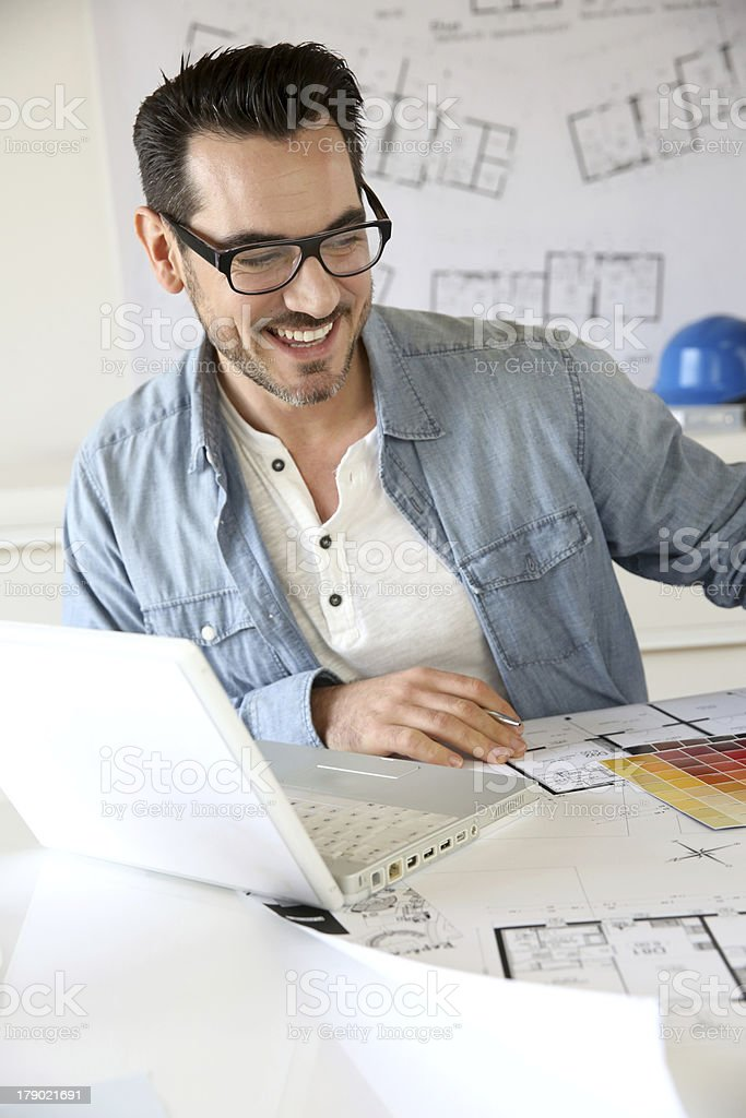 Young architect working in office royalty-free stock photo