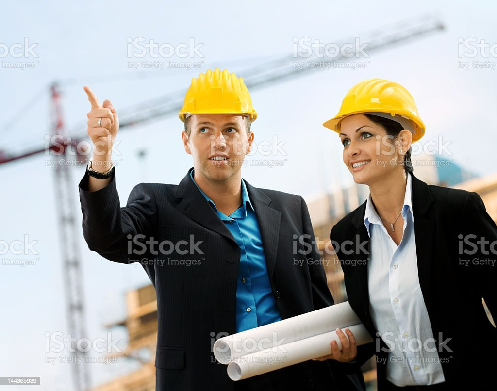 Young architects on a job site royalty-free stock photo