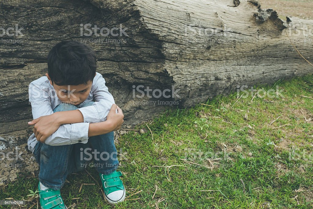 Young Asian boy, alone stock photo