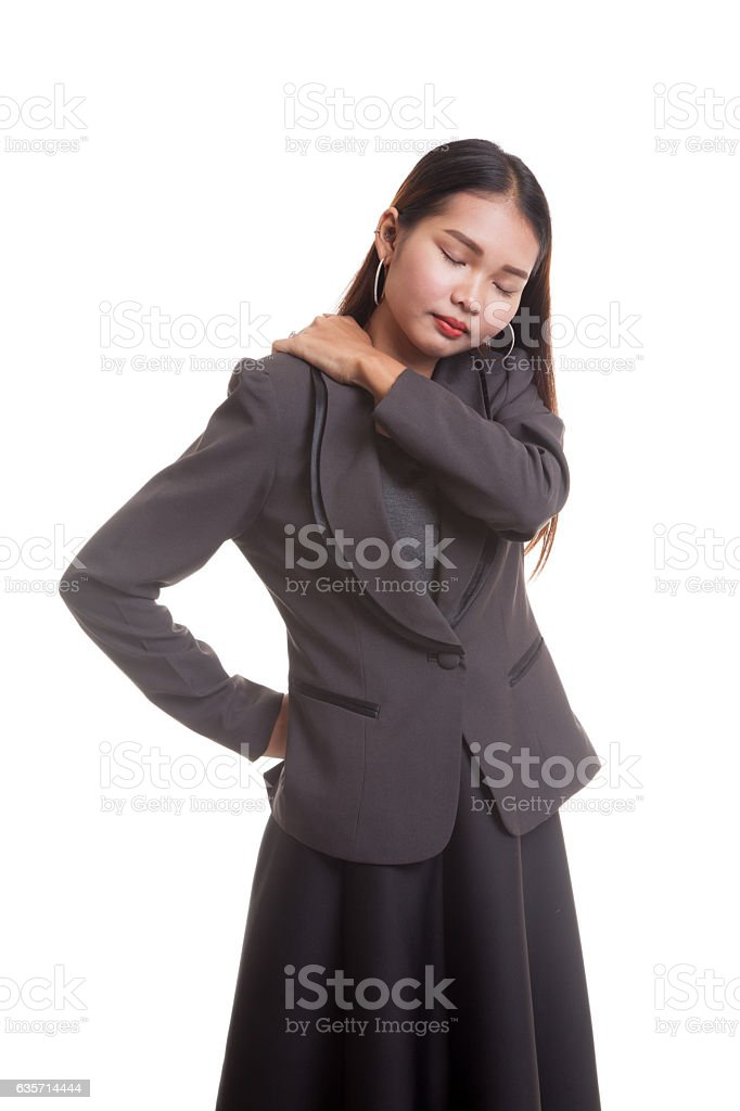 Young Asian business woman got back pain. royalty-free stock photo