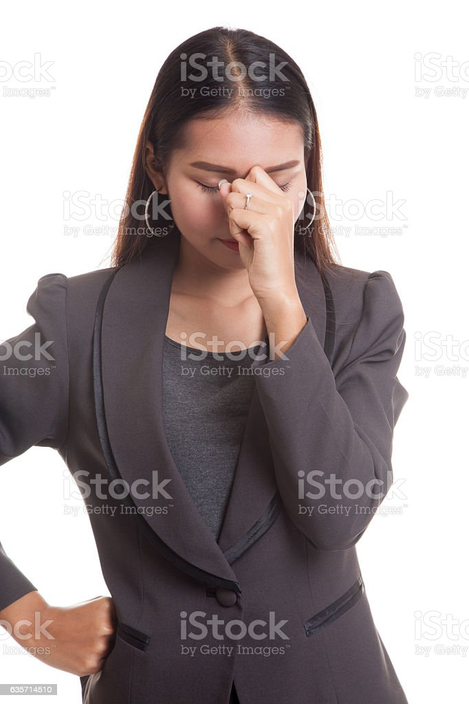 Young Asian business woman got sick and  headache. royalty-free stock photo