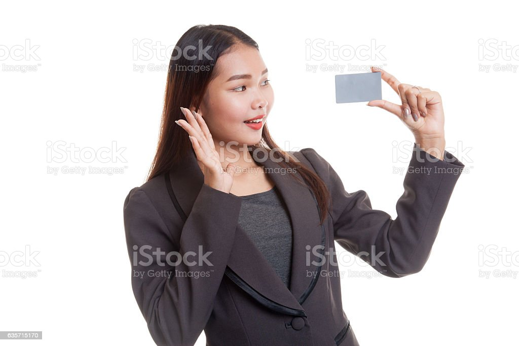 Young Asian business woman happy with  blank card. royalty-free stock photo